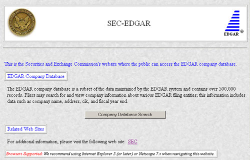 EDGAR Company Database search screen