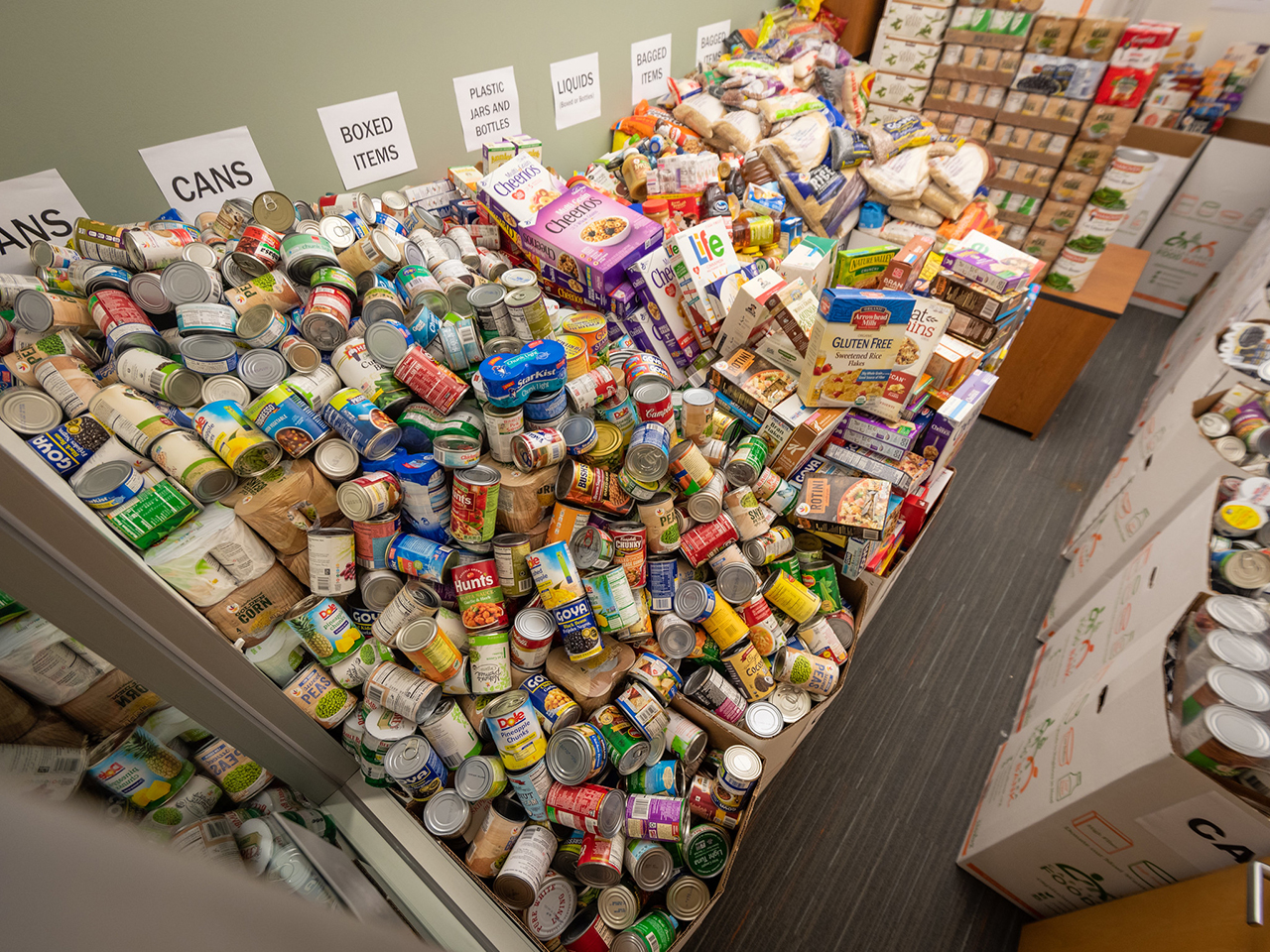 Image of SEC warehouse of collected food donations