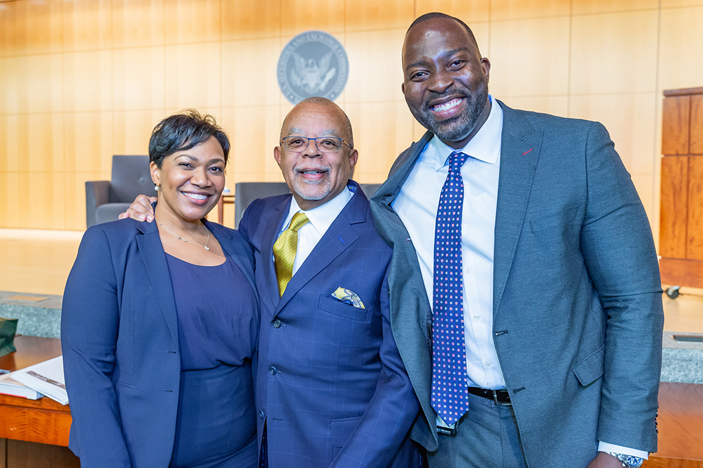Dr. Henry Louis Gates (center) with Naseem Nixon and Olawale Oriola, Co-Chairs of the SEC's African American Council.