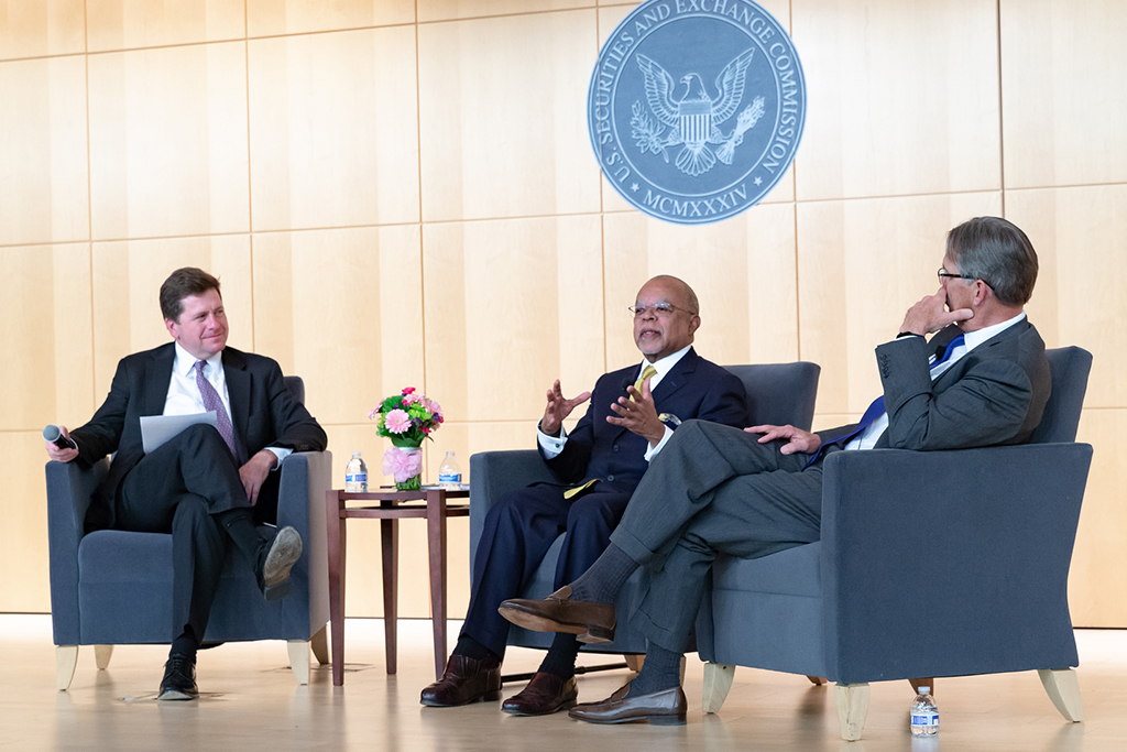 Dr. Henry Louis Gates answered questions during a fireside chat with Chairman Jay Clayton and Glenn Hutchins, Chair of the Hutchins Center for African & African American Research at Harvard University.