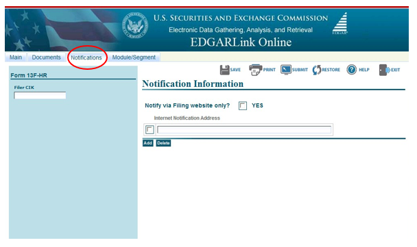 Screenshot depicting the location of the Notifications option on the Form ID application page