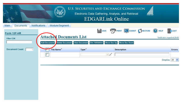 Screenshot depicting the location of the Add Documents option on the Form ID application page