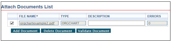 Screenshot depicting the attach documents list error validation screen