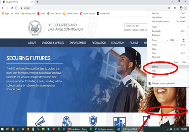 Screenshot of SEC.gov indicating location of Settings in Google Chrome's dropdown menu on the top right corner of the browser window
