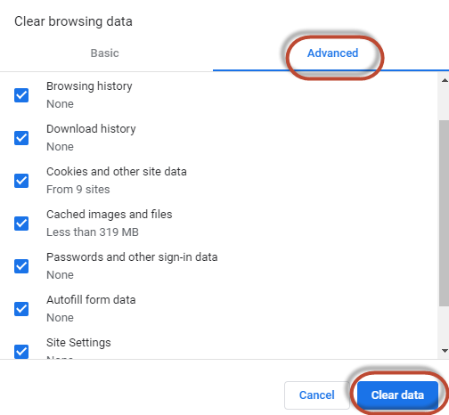 Screenshot showing the location of the Advanced and Clear Data options in the Clear Browsing Data Pop-up of Google Chrome's Site Settings screen