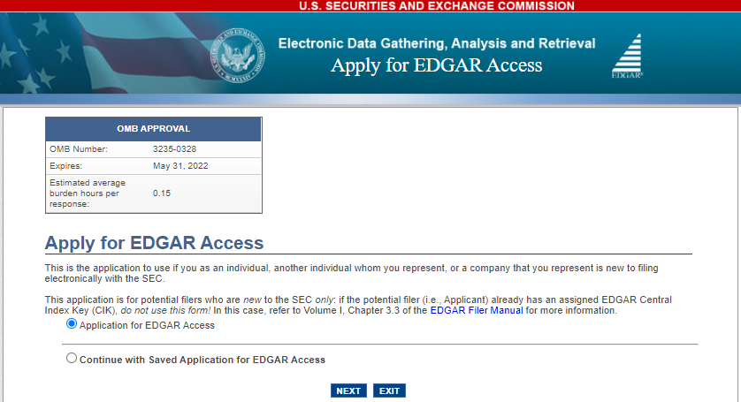 Apply for EDGAR access screenshot