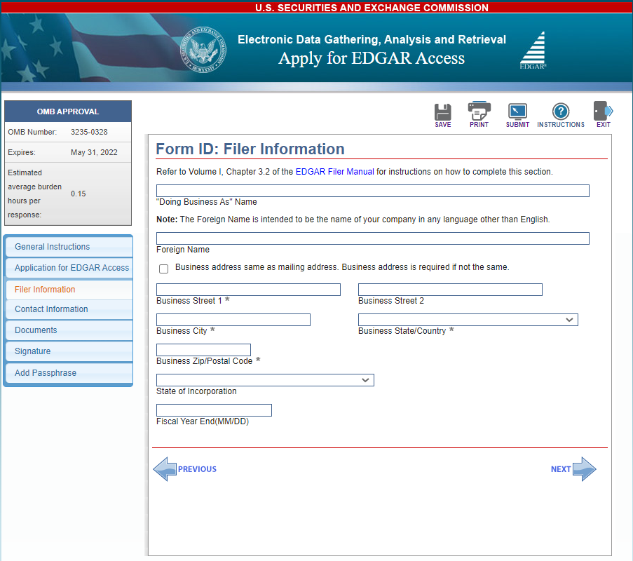 Filer information screenshot