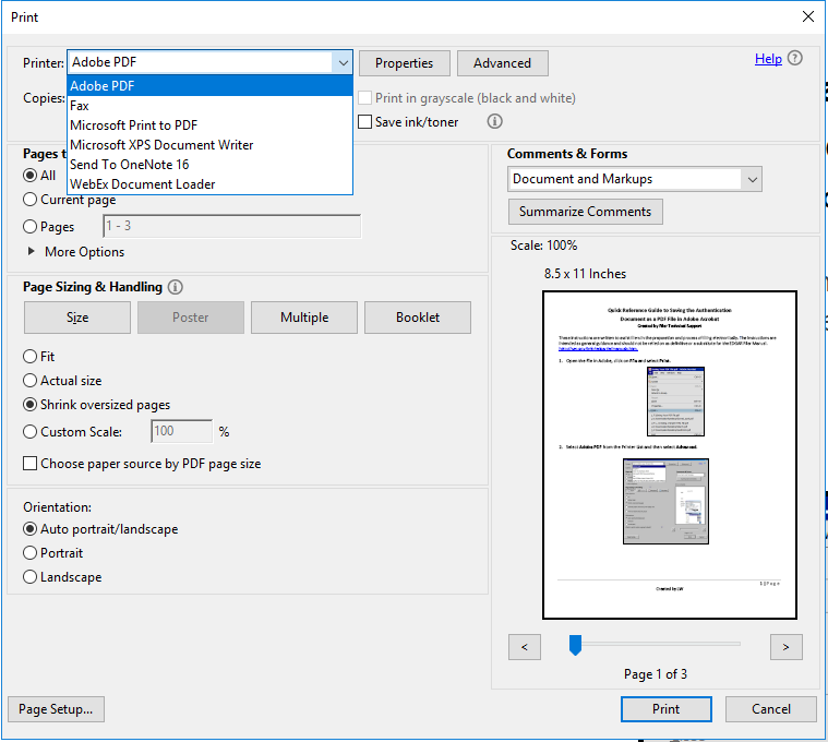 Screenshot depicting the Print function with Adobe PDF selected from the Printer drop down menu