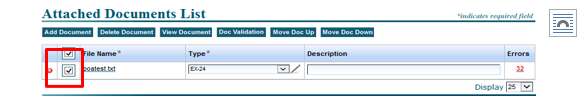 Screenshot depicting the attached Documents List on the EDGARLink Online Form Submission page