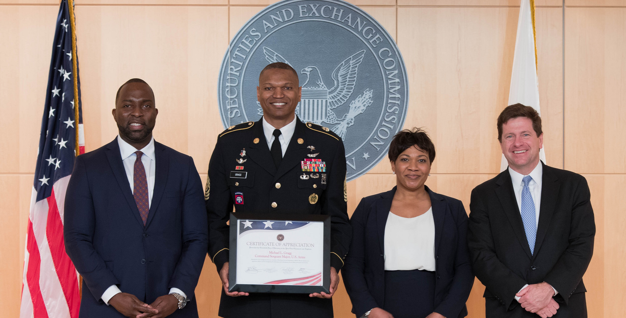 Left to right: Olawale Oriola, Command Sgt. Maj. Michael L. Gragg, Naseem Nixon, Chairman Jay Clayton