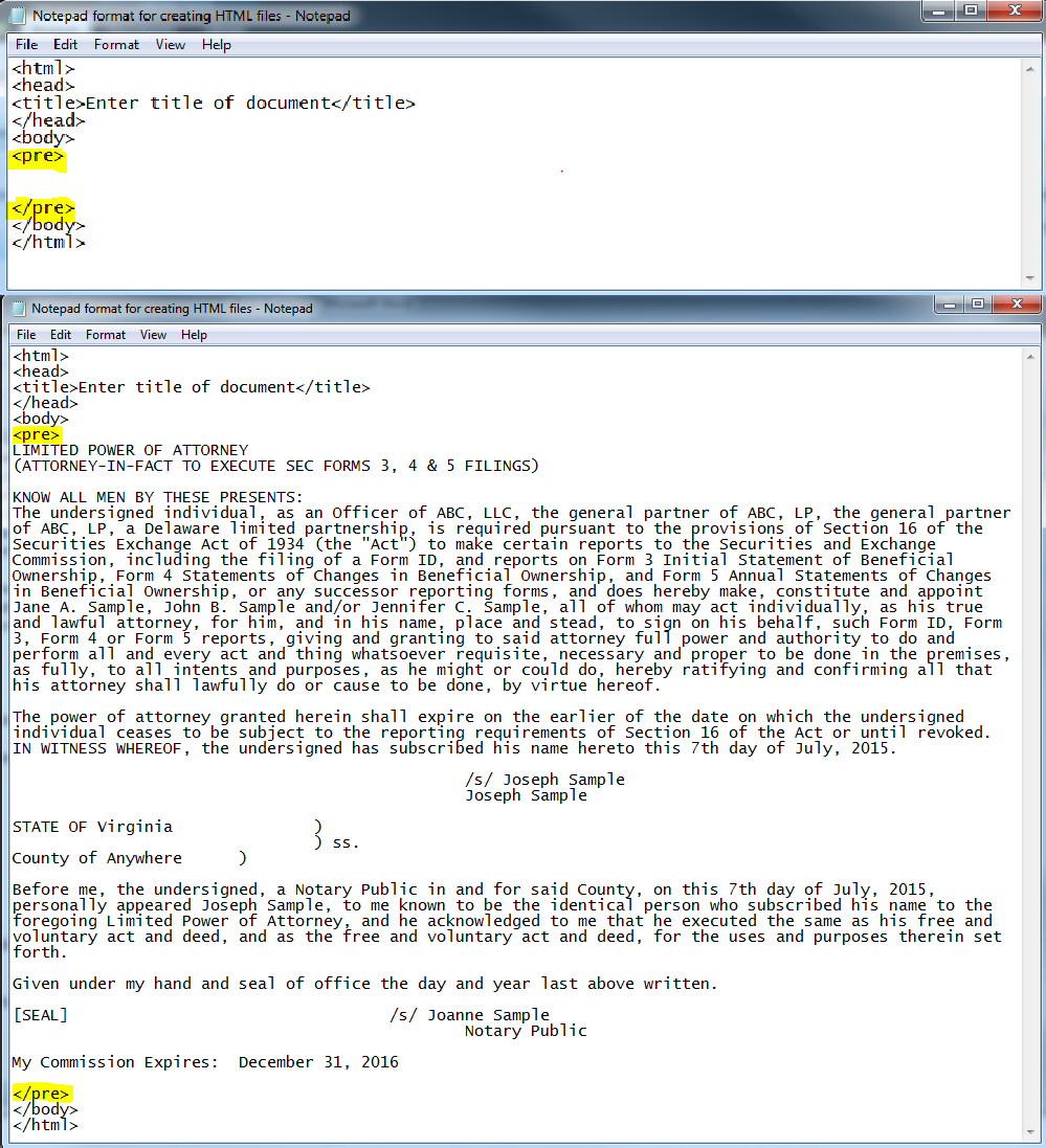 Screenshot depicting where to copy and paste html tags in the Notepad pop-up window of Windows