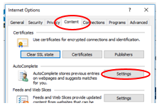 Screenshot depicting where the AutoComplete Settings option is located in the Content Tab