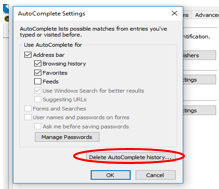Screenshot depicting where the Delete AutoComplete History option is located in the AutoComplete settings window