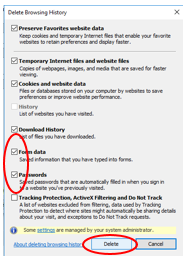 Screenshot depicting the locations of the Form Data and Passwords check boxes and the Delete button