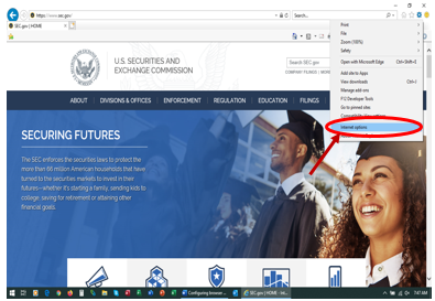 Screenshot of SEC.gov indicating location of Internet Options in the Tools dropdown menu of Internet Explorer, which is on the top right corner of the browser window