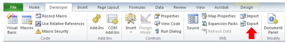 Screenshot depicting the export option on the select developer tab of an XML document