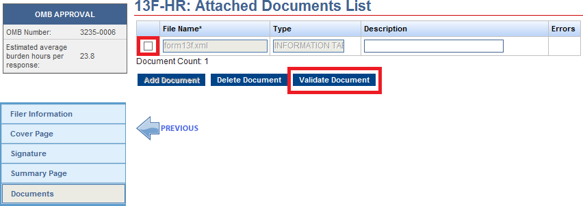Screenshot depicting the validation option checkbox, and the document validation submission button located on the bottom left hand side
