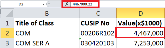 Screenshot depicting how to enter numerical values in an Excel document