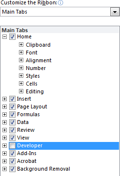 Screenshot depicting how to enable the developer tab function in Excel