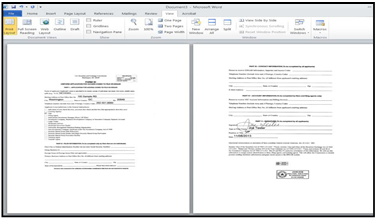 Screenshot depicting paste function in MS Word