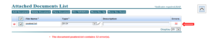 Screenshot depicting the Attached Documents List Error Validation screen indicating 32 errors