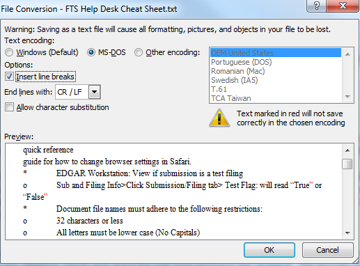 Screenshot depicting the File Conversion - FTS Help Desk Cheat Sheet