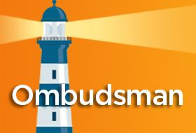SEC Ombudsman logo with a blue and white lighthouse