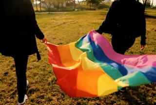 Two people carrying a rainbow Pride flag