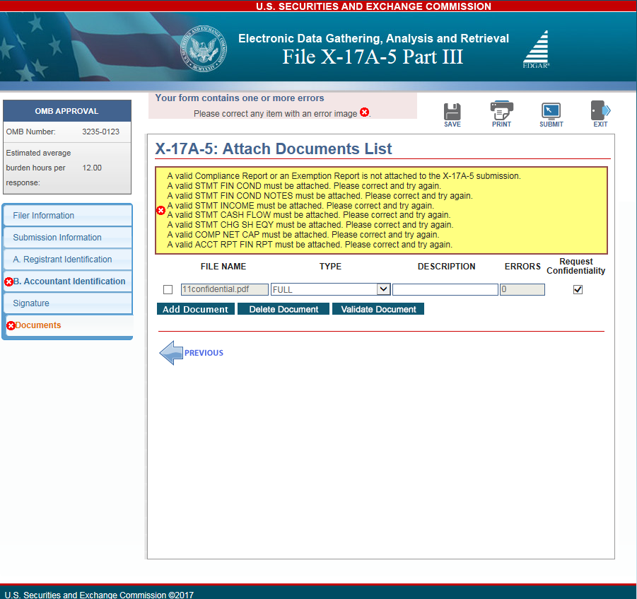 www.edgarfiling.sec.gov X-17A-5 Error Message for Attach Documents screen