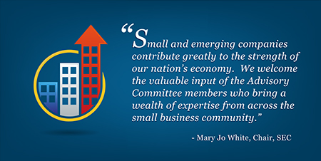 SEC Chair Mary Jo White quote: Small and emerging companies contribute greatly to the strength of our nation's economy. We welcome the valuable input of the Advisory Committee members who bring a wealth of expertise from across the small business community.