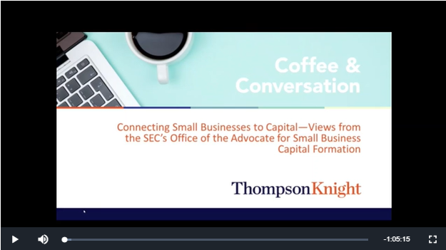 Virtual Conversation on Connecting Small Businesses to Capital screen clip
