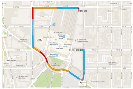 Map showing path from SEC main entrance to loading dock.