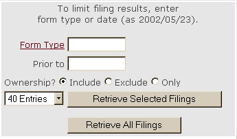 Company Search Fields For Indicating Form Type And Date