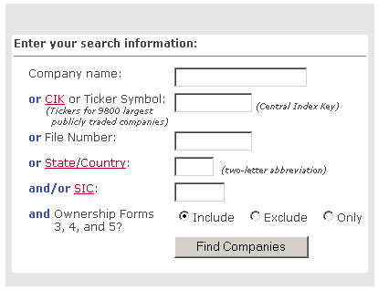 Company Search screen