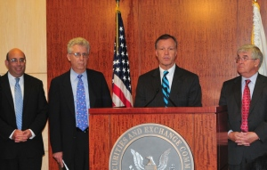(L to R) FASB Chairman Robert Herz, Advisory Committee Chairman Robert Pozen, SEC Chairman Christopher Cox, and PCAOB Chairman Mark Olson