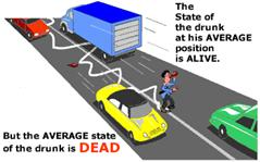 Illustration: The State of the drunk at his AVERAGE position is ALIVE.  But the AVERAGE state of the drunk is DEAD